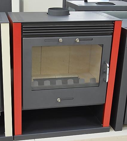 Estufa de leña roja para quemar leña, estufa de leña, chimenea grande, 13