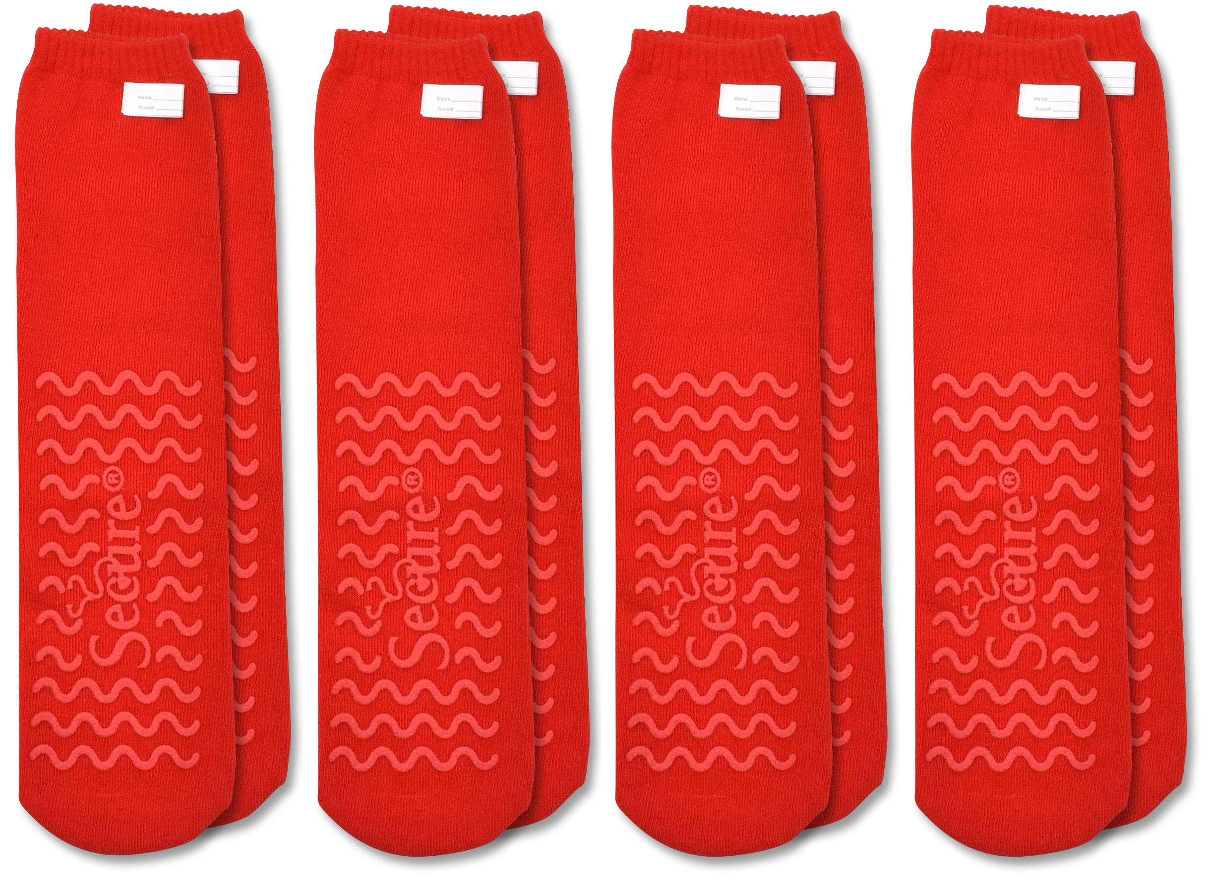 Secure (4 Pairs) Ultra Soft Non Slip Grip Slipper Socks, Red - Fall Injury Prevention Hospital Tread Sock for Safety, Comfort and Warmth