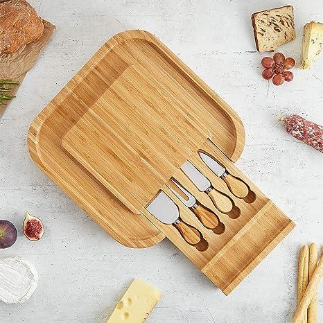 quadratisch ausziehbar VonShef K/äsebrett aus Bambus mit 4 Messern