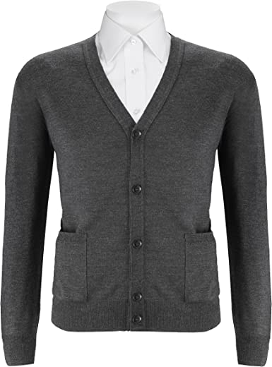 DALMINE Extra Fine Merino Wool Cardigan Sweater Made in Italy Charcoal Grey