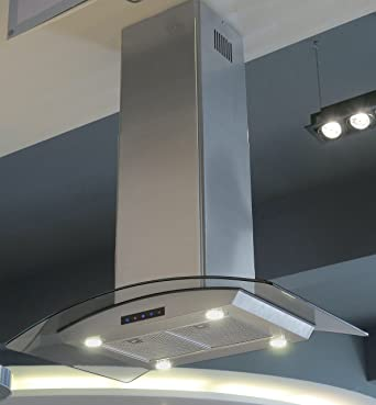 Kitchen Bath Collection ISL90A-LED Stainless Steel Island-Mounted Kitchen Range Hood with Arched & Amazon.com: Kitchen Bath Collection ISL90A-LED Stainless Steel ...