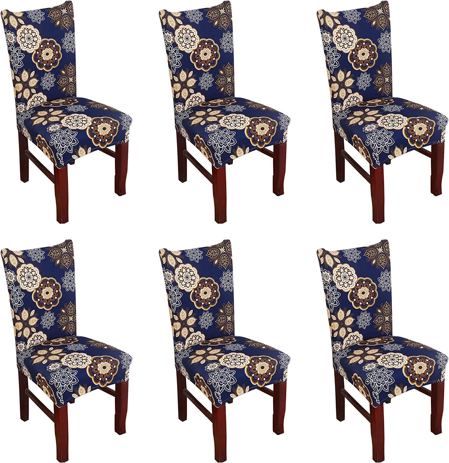 Argstar 6 Pack Chair Covers, Stretch Armless Chair Slipcover for Dining Room Seat Cushion, Spandex Kitchen Parson Chair Protector Cover, Removable & Washable, Navy Blue Flower Design