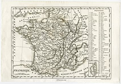 Map Of France 1800.Amazon Com Antique Map France Corsica Van Baarsel Tuyn 1800