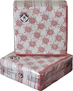 40-ct 5x5 Snowflake Christmas Napkins Paper | Red Napkins | Red Beverage Napkins | Red Paper Napkins | Red and White Napkins for Dessert Cocktail Wedding | Decorative Napkins for Decoupage Paper