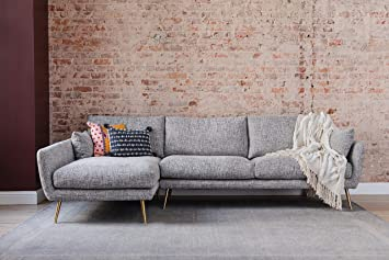 Edloe Finch Modern Sectional Sofa Left Facing Chaise Down Feather Cushions, Grey