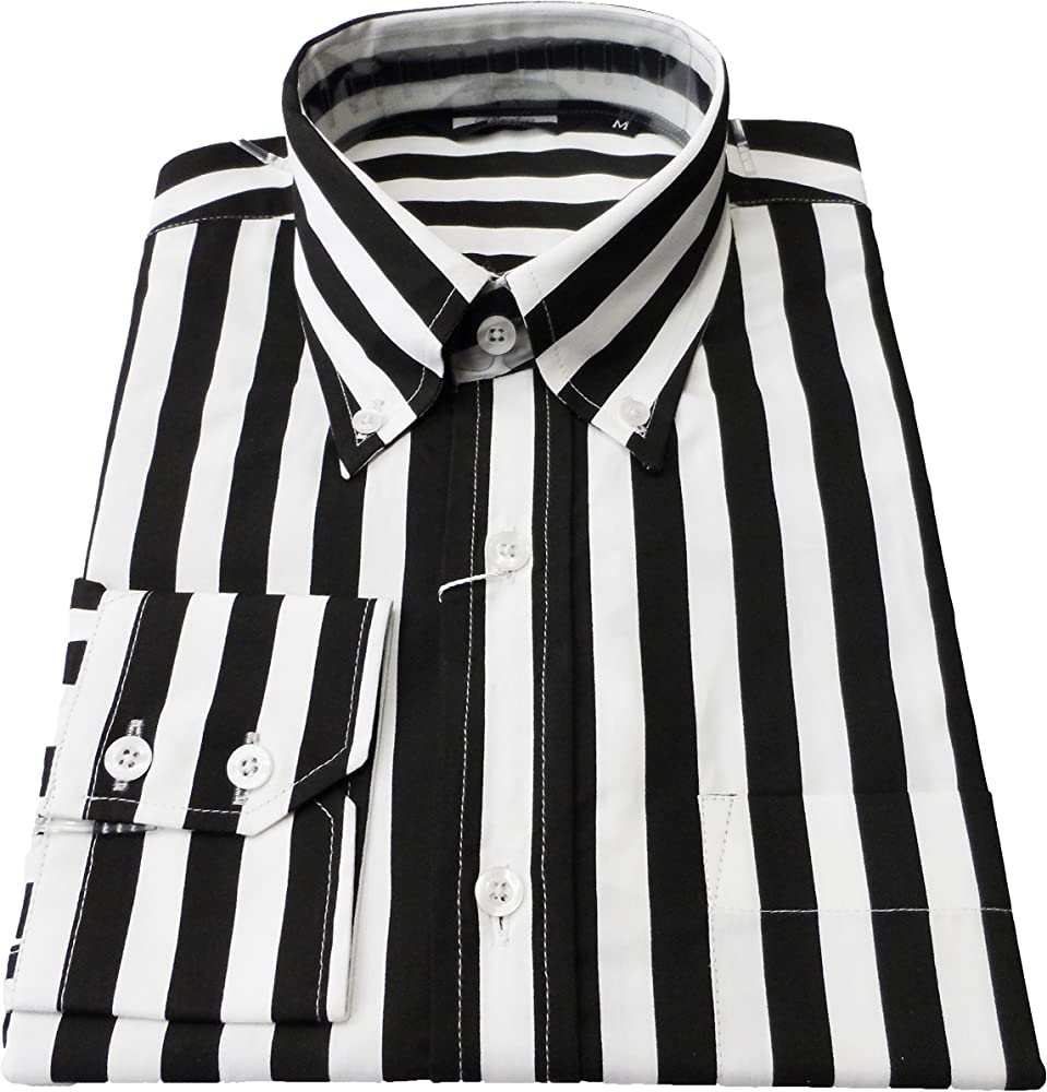 Hombre Retro Camisa Rayas L/S Botones Blanco Y Negro Mehrfarbig - Schwarz/Weiß Small: Amazon.es: Ropa y accesorios