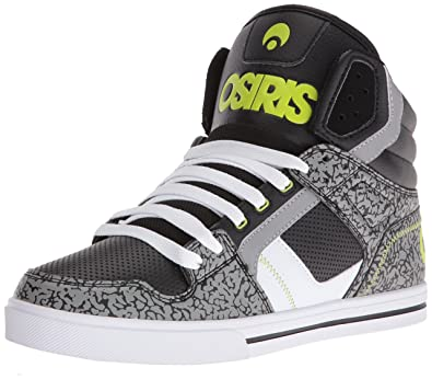 Osiris Men's Clone Skateboarding Shoe, Black/Lime/Elephant, ...