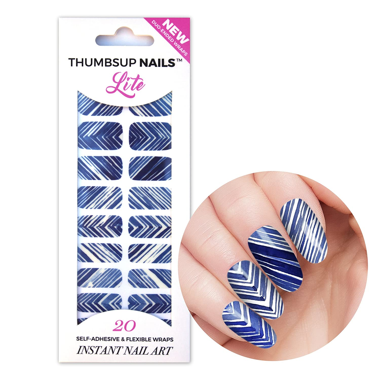ThumbsUp ongles Shibori Bleu et blanc d'encre pour les ongles Vernis à ongles Foil/étiquette/bandes/une couverture complète Nail Art Stickers/20stratifiées par lot ThumbsUp Nails