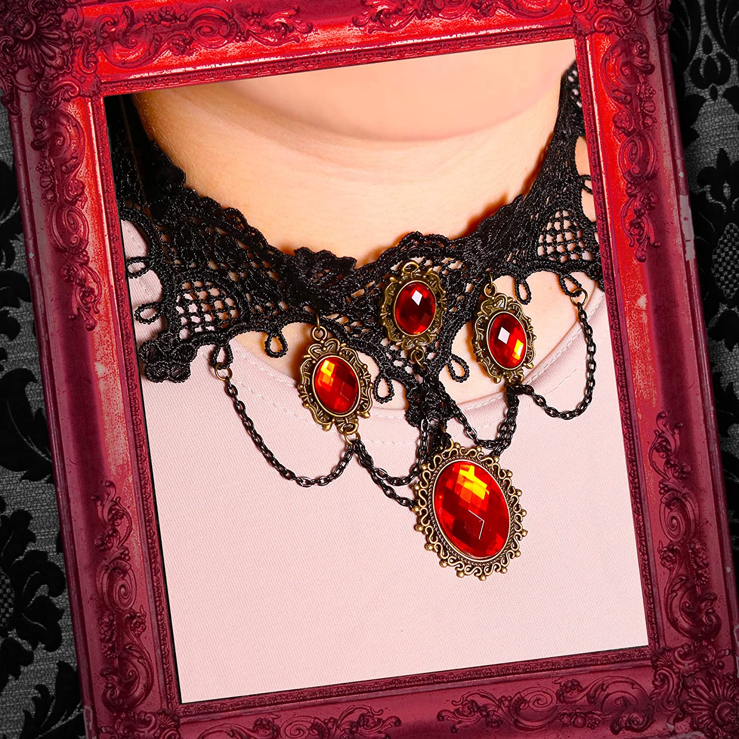 Skeleteen Gothic Vampire Jewelry Set Black Lace Choker with Red Rhinestone Earrings Pirate Costume Accessories Set for Women and Girls