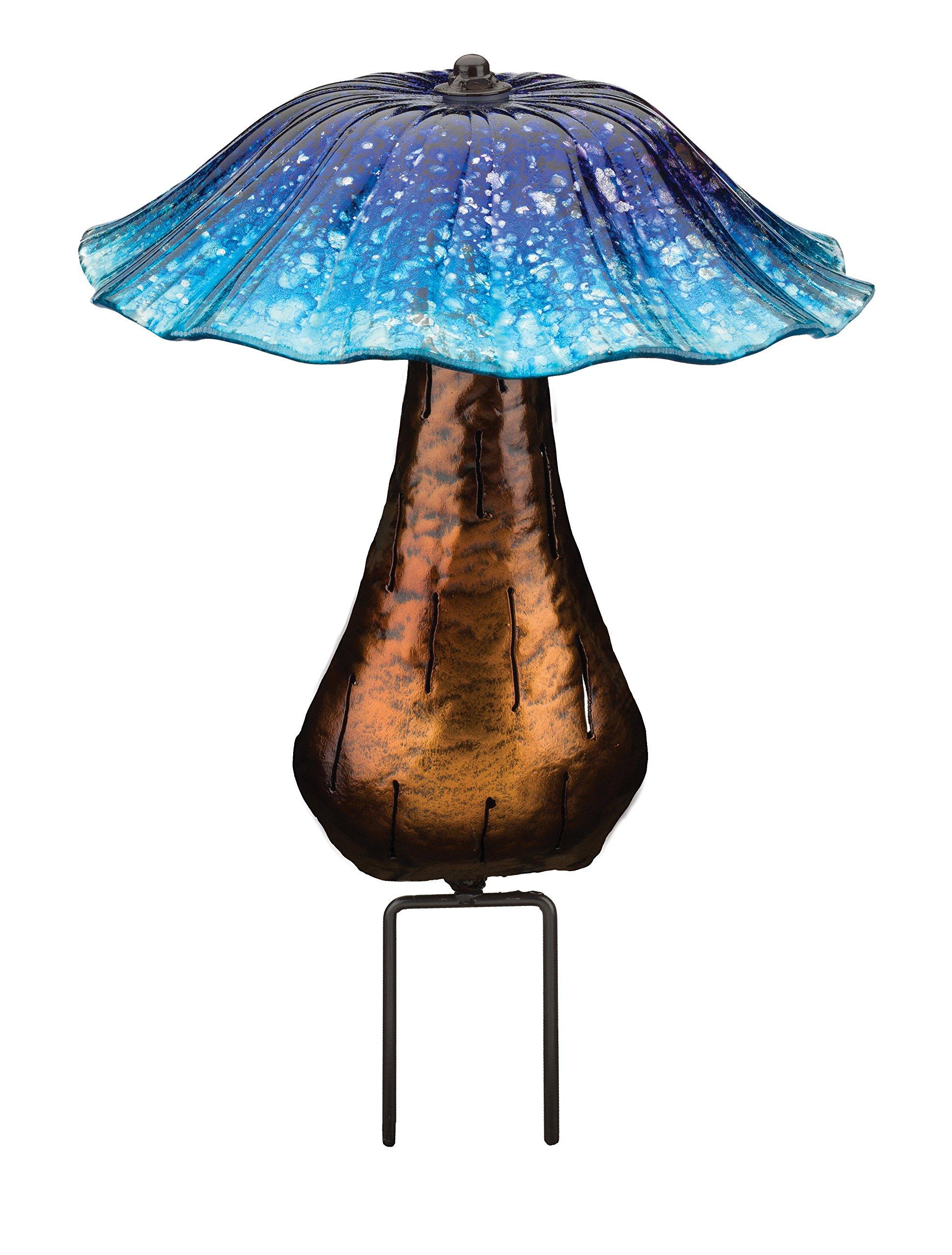 Regal Art & Gift 11611 Toadstool Stake Solar Light Garden Decor, Blue