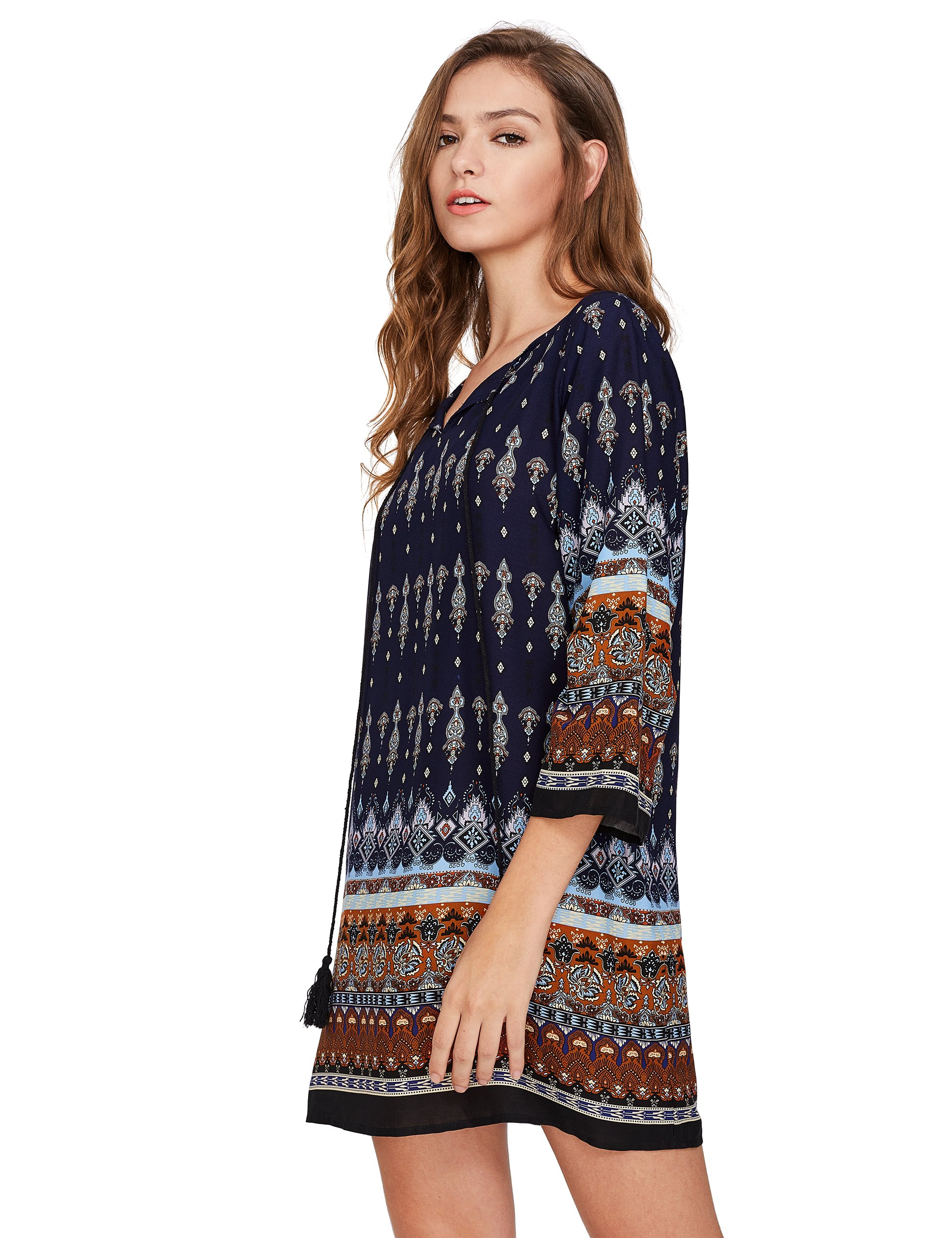 ROMWE Women's Boho Bohemian Tribal Print Summer Beach Dress Navy S by Romwe (Image #3)