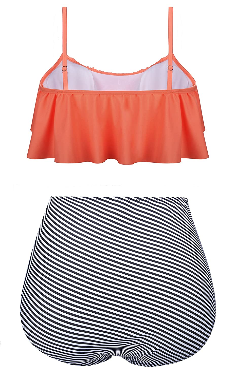 5d20c329b02 Amazon.com  Fancyskin Womens Two Piece Swimsuit Boho Flounce Falbala High  Waisted Bikini Set  Clothing