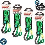 4CARS 4er Set Premium Qualität Gepäckspanner mit Haken, Spannseile, 100 cm lang, 8 mm Durchmesser, Farbe: grün