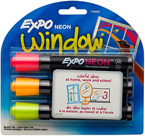 Expo Neon Dry Erase Markers Bullet Tip 3 Pack Assorted Colors