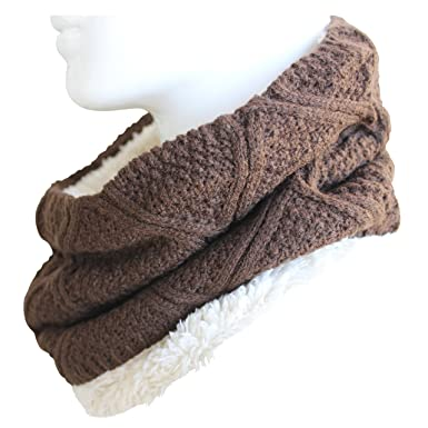 626649ef4dfa affordable fereti charpe tube homme marron tricot ferme circulaire echarpe  ronde teddy fourrure loopschal snood with charpe ronde