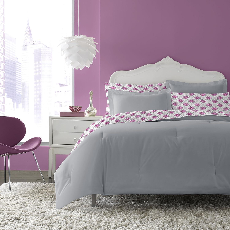 Betsey Johnson BJ Microfiber Bed Set, Full, Grey