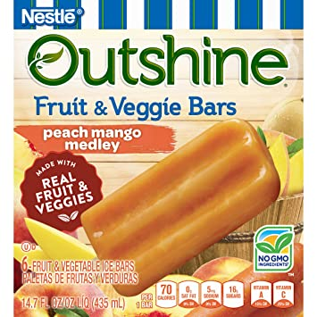 OUTSHINE Fruit & Veggie Bars, Peach Mango Medley 6 ct Box