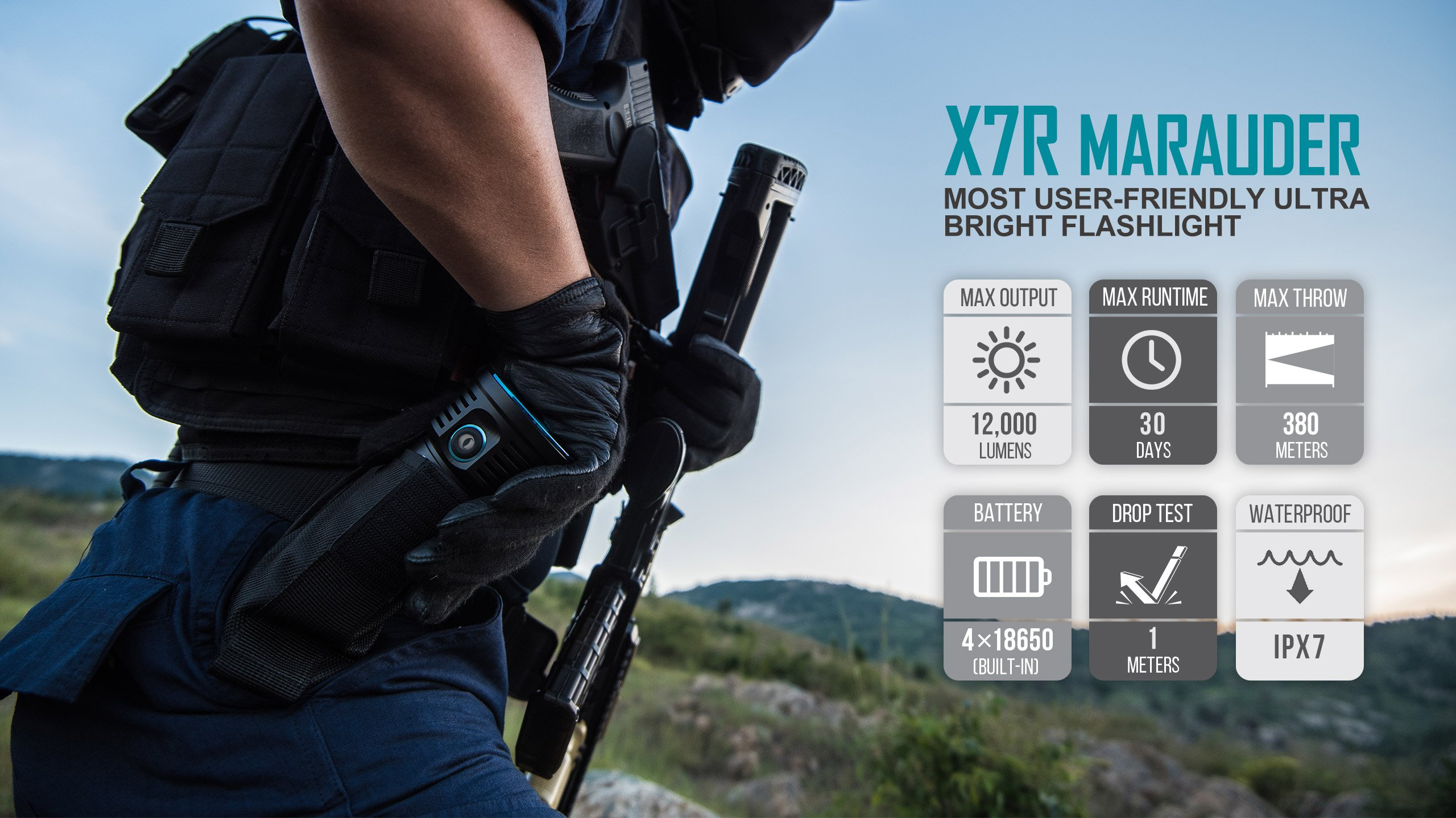 Olight X7R Marauder 12000 Lumens CREE XHP 70 LED USB Rechargeable Flashlight for Camping,Hunting,Searching,with 4 X 18650 Rechargeable Batteries (Built-in) and SKYBEN Accessory by SKYBEN (Image #7)