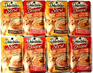 Delectables Lickable Treats SENIOR 15yrs+ Variety Bundle for cats. Two Flavors, 4 Pouches of Each Flavor. 8 Total 1.4 oz Pouches.