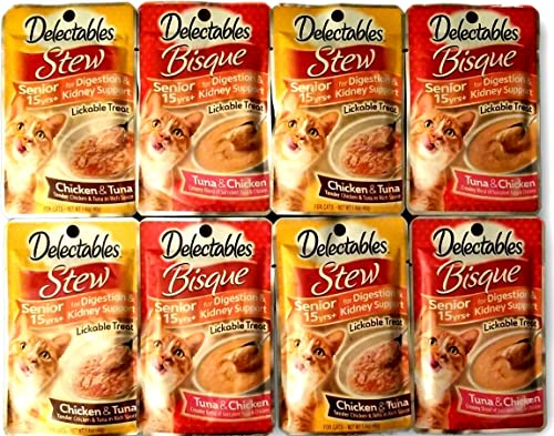 Delectables Lickable Treats SENIOR 15yrs Variety Bundle for cats. Two Flavors, 4 Pouches of Each Flavor. 8 Total 1.4 oz Pouches.