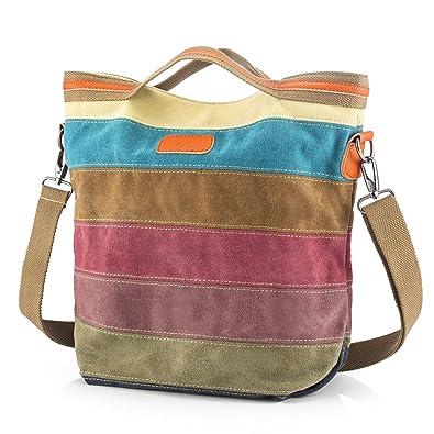 e259d5a2060a SNUG STAR Multi-Color Striped Canvas Handbag Cross Body Should Purse Bag  Tote-Handbag