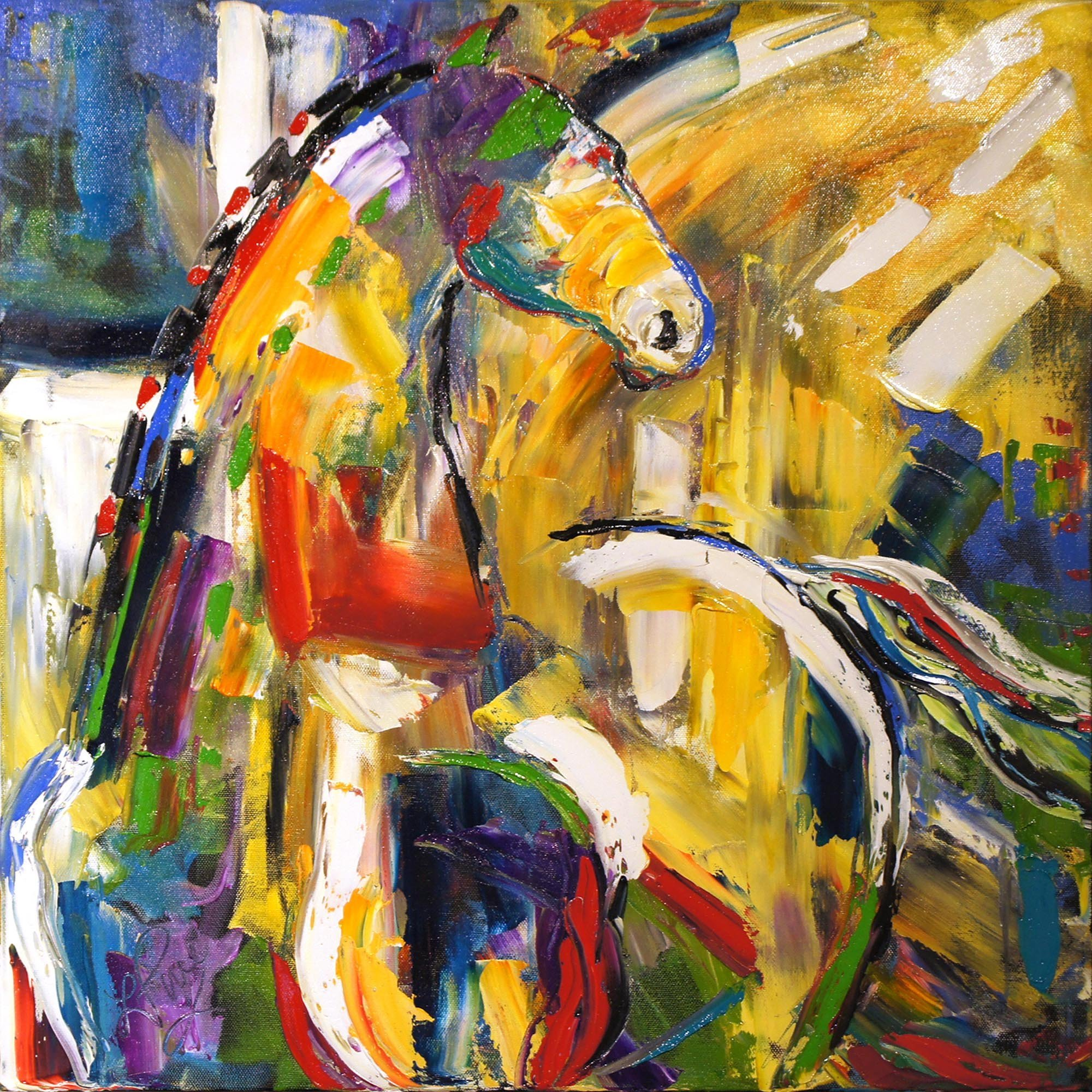 Sunbeam Love - Original Horse Painting Colorful Equine Art Modern Western Art Contemporary Horses Decor by Renowned Artist Laurie Pace
