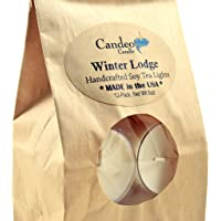 Winter Lodge, Holiday Scented Soy Tealights, 12 Pack Clear Cup Candles, Christmas Candles