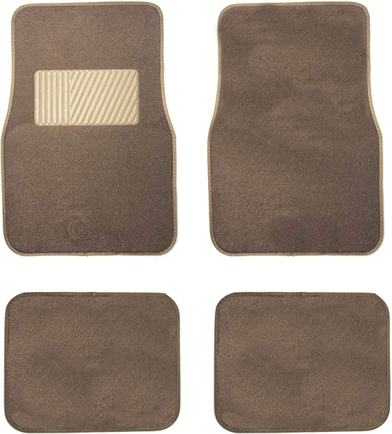 New Carpet Car Floor Mats 4 Pc Set for Cars Trucks SUVS with Heel Pad -Front and Rear Mats Universal Classic Matching Heel Pad (Mocha)