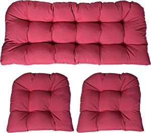 RSH DECOR Sunbrella Canvas Hot Pink 3 Piece Wicker Cushion Set - Indoor/Outdoor Wicker Loveseat Settee & 2 Matching Chair Cushions