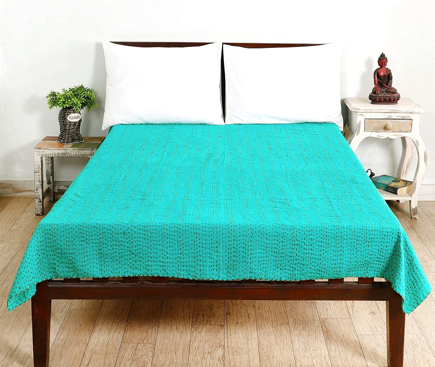 Handicraft-Palace Indian Handmade Twin Size Quilt Solid Color Kantha Work Quilt Bedspread Blanket Throw Decorative Green