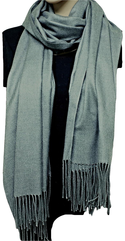 MONETTI FIA Bufanda de mujer Cashmere - Gris - 170 x 66 cm - en un diseño atemporal - ¡un accesorio ideal para cada atuendo!