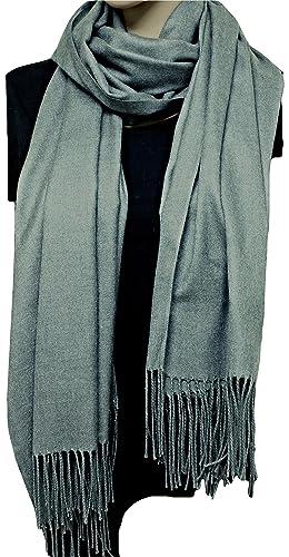 FIA MONETTI Bufanda de mujer Cashmere – Gris – 170 x 66 cm – en un diseño atemporal – ¡un accesorio ideal para cada atuendo!