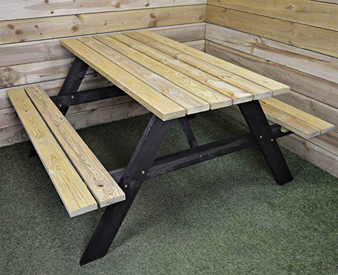 Mesa de picnic de madera 150x153x67cm: Amazon.es: Iluminación