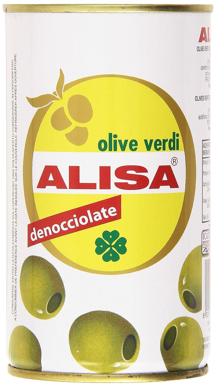 Alisa Olive Verdi, Denocciolate in Salamoia Peso Sgocciolato 150 gr, Netto - 340 gr