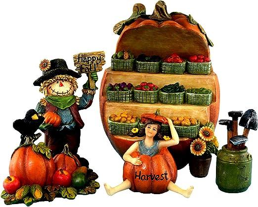 Jardín de hadas miniatura de Kit de accesorios – Espantapájaros, diseño de hada, soporte y función de verduras – 5 piezas – hada granja colección por pretmanns: Amazon.es: Jardín