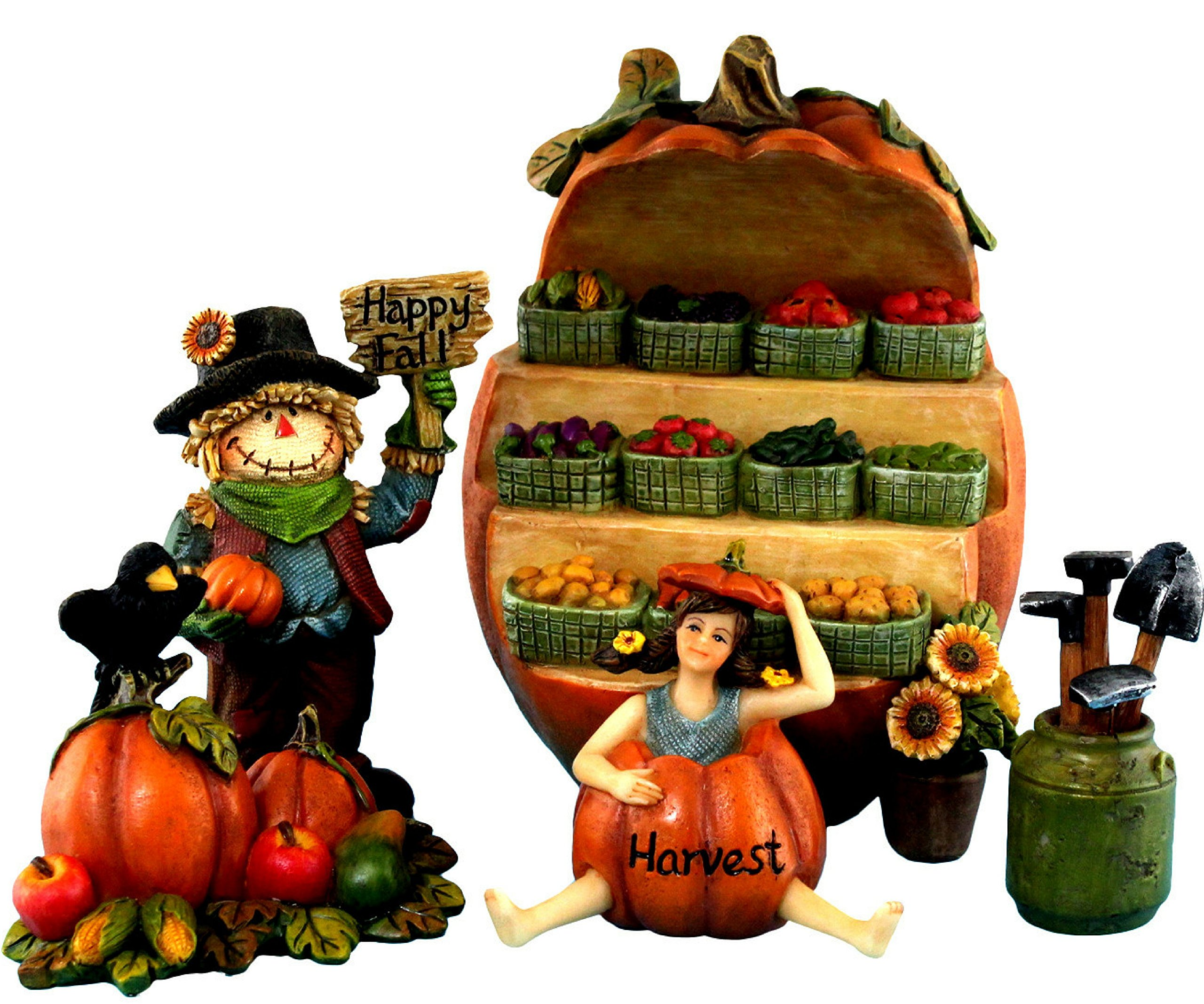 "Pretmanns Fairy Garden Accessories Kit – Miniature Garden Fairy, Vegetable Stand (5""High), Scarecrow & Vegetable Collections – Colorful 5 Piece Fairy Garden Set by Pretmanns"