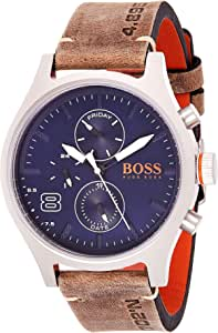 HUGO BOSS Men's Amsterdam Stainless Steel Quartz Watch with Leather Calfskin Strap, Grey, 22 (Model: 1550021)