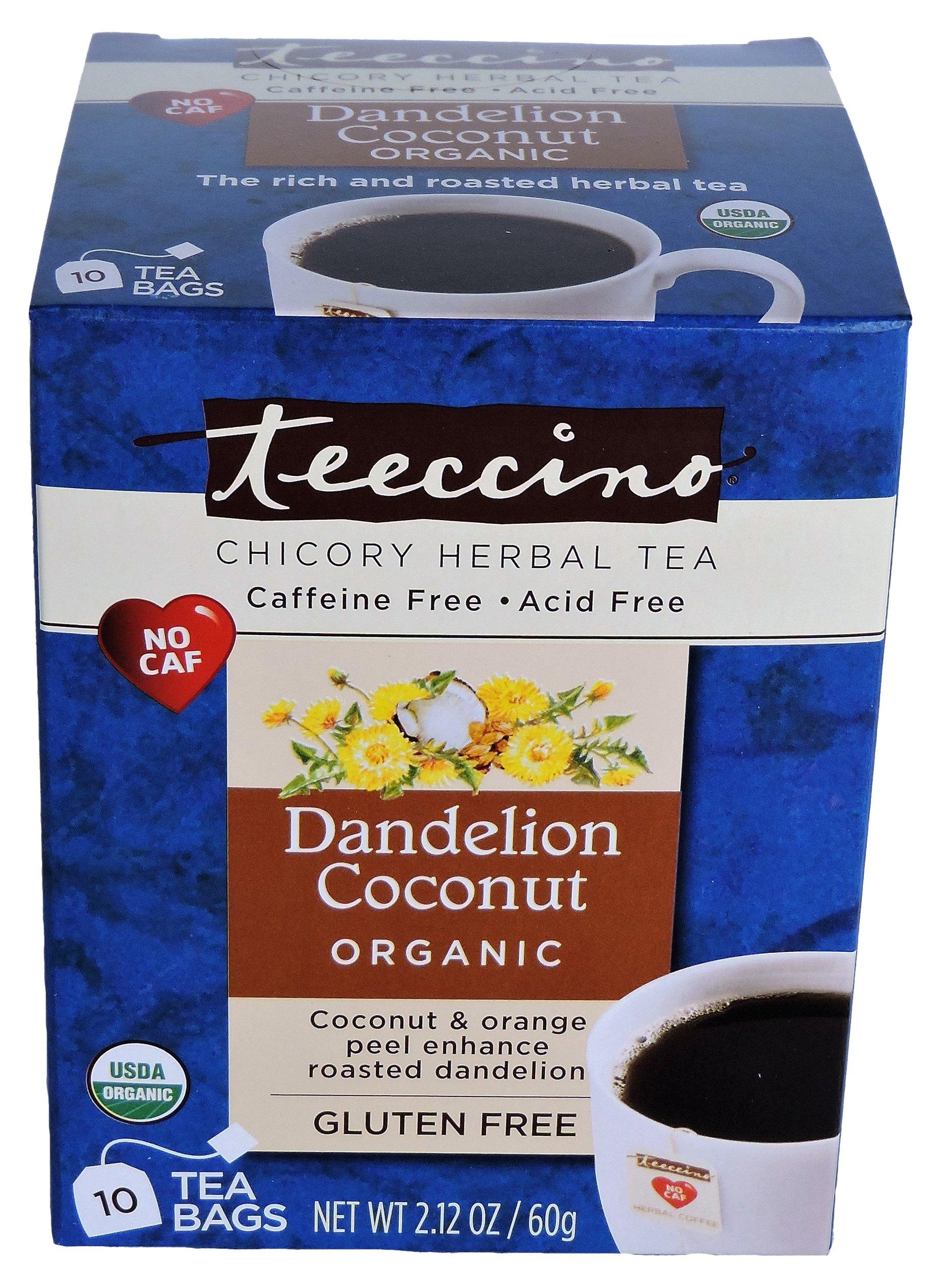 Teeccino Organic Dandelion Coconut Herbal Tea Bags, Certified Organic, Gluten Free, Caffeine Free, Acid Free, 10 Count