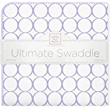 SwaddleDesigns Ultimate Swaddle Blanket, Made in USA, Premium Cotton Flannel, Lavender Mod Circles