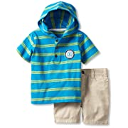 0164ad55d4af Calvin Klein Baby Boys' Hooded Stripes Top with Shorts, Blue, 12 Months