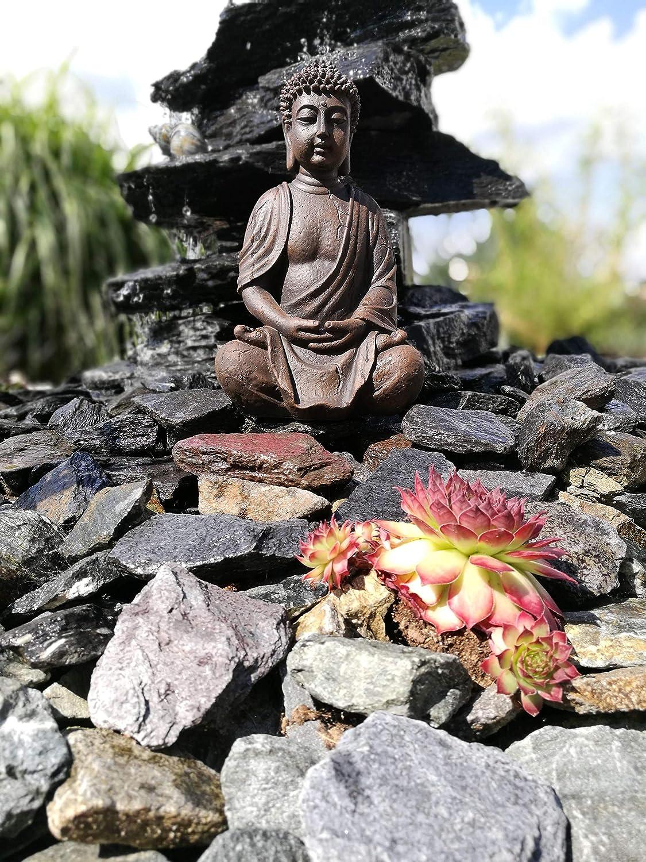 Statuetta di Buddha seduto in preghiera di 25 cm accessorio per la casa ideale come regalo articolo decorativo per casa e giardino colore: marrone scultura di Buddha