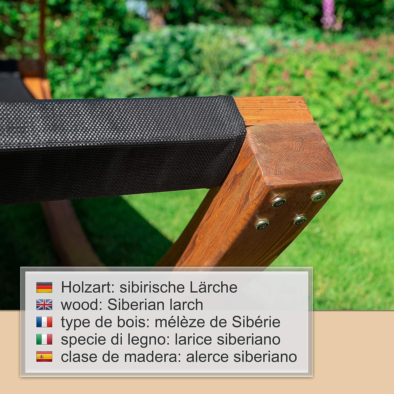 100/% Resistente alle intemperie//Larice Siberiano Ampel 24 Sedia a Sdraio Panama Nera//Tenda da Sole Regolabile//Sdraia Prendisole Singola