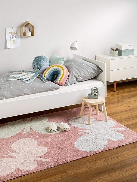 Benuta Alfombra Infantil (Bambini Butterflies | Alfombra para de Juego y habitación de los Niños, algodón, Rosa, 120 x 180 cm: Amazon.es: Hogar