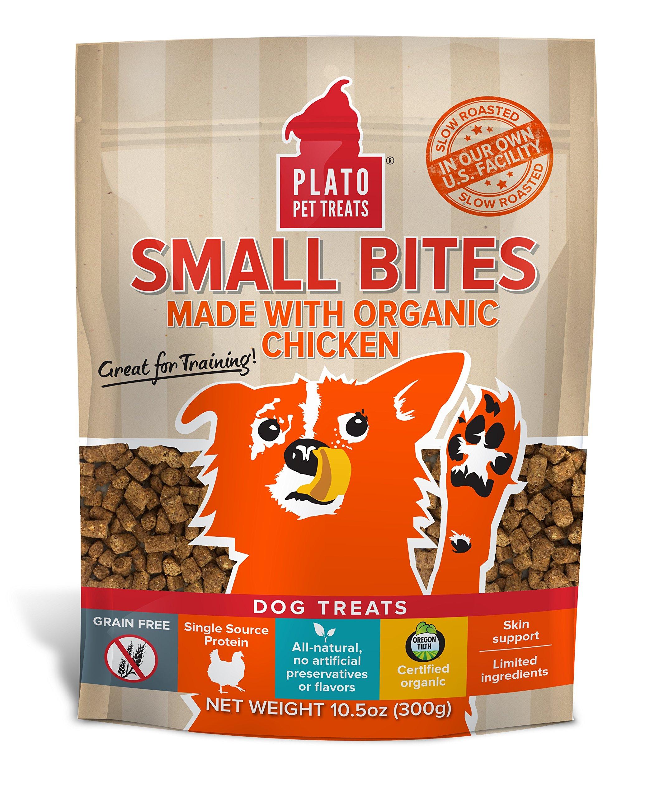 PLATO Dog Treats - Organic Chicken - Pet Treats, All-Natural, Non-GMO, No Artificial Flavors, or Preservatives, Made in the USA