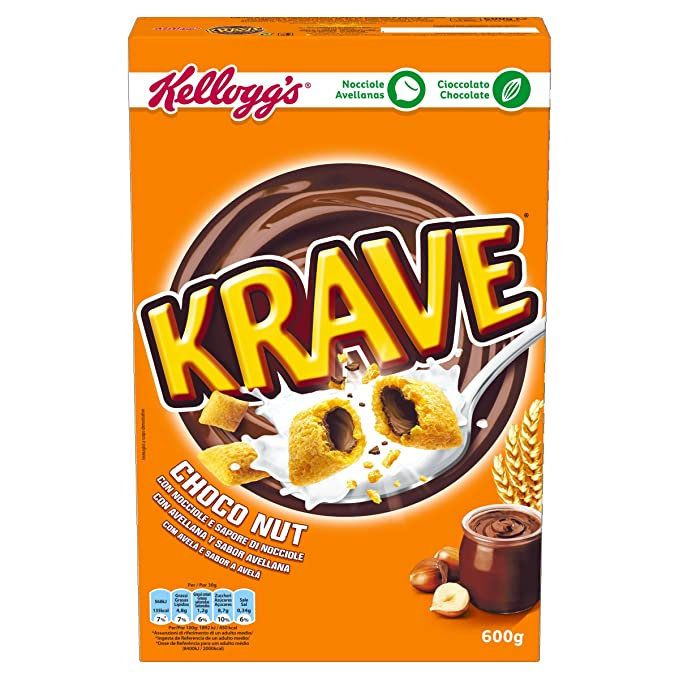 Kelloggs Cereales Krave Choco and Nuts - 6 Paquetes de 375 gr - Total: 750