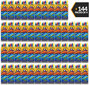 Bulk Crayons - 576 Crayons! Case Of 144 4-Packs, Premium Color Crayons for Kids and Toddlers, Non-Toxic, Perfect for Party Favors, Restaurants, Goody Bags, Stocking Stuffers