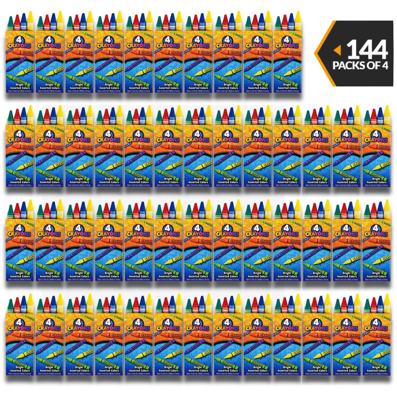 Bulkクレヨン – ( 144 ) 4-packsカラープレミアムカラークレヨンの子供、幼児、非毒性、Perfect forパーティーFavors、レストラン、Goodyバッグ、美術と工芸サプライby bedwina   B07BRZ7GK8