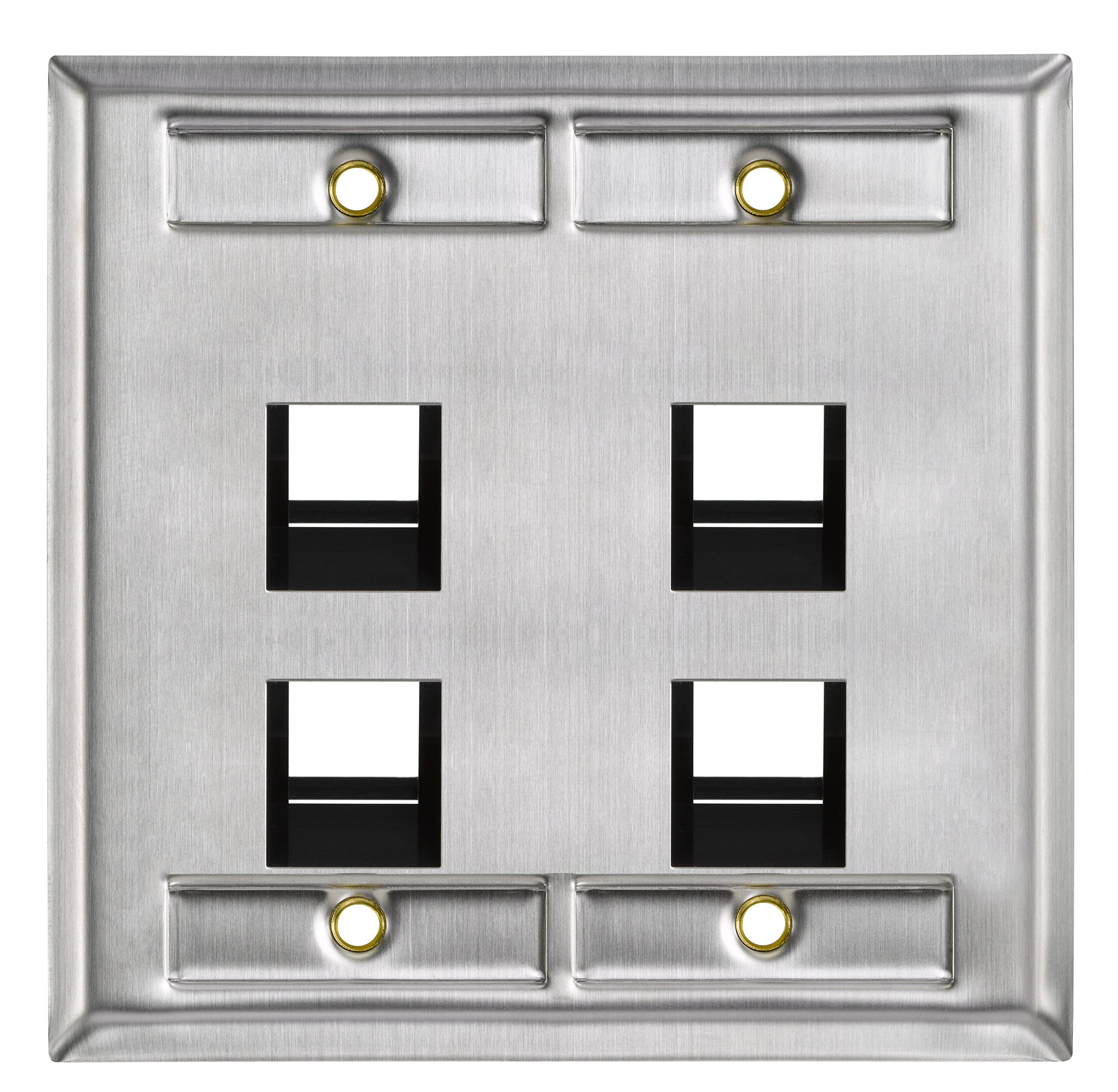 Leviton 43081-2L4 4-Port Angled Stainless Steel QuickPort Dual Gang Wallplate with ID Windows