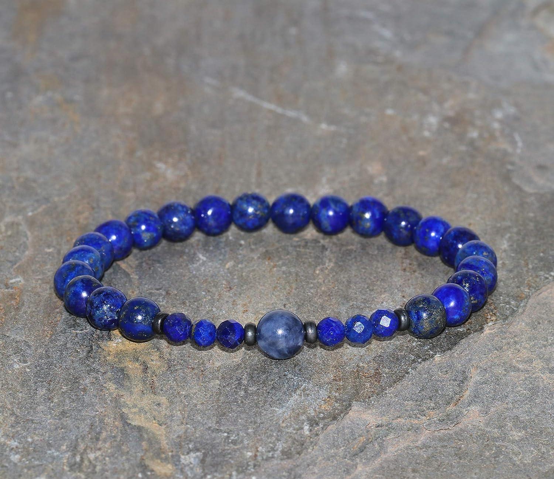 Pulsera de Lapis Lazuli Grado AAA de 6 mm con Cuenta Gurú de Zafiro de 6.5 mm Piedras Preciosas Naturales Joyería Chakra Lapis Lázuli Facetado de 4 mm Gunmetal