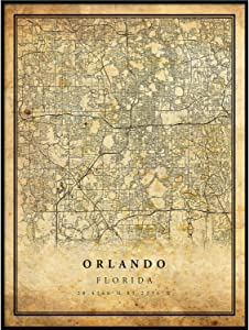 Orlando map Vintage Style Poster Print | Old City Artwork Prints | Antique Style Home Decor | Florida Wall Art Gift | Vintage map Poster 8.5x11